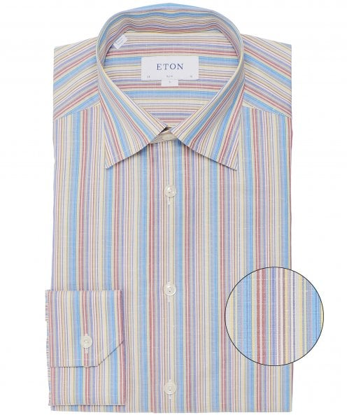 Eton Slim Fit Cotton Linen Striped Shirt