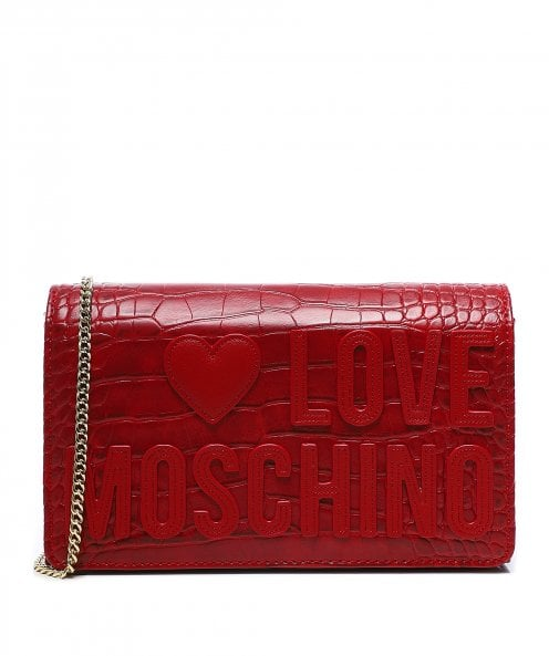 Moschino Love Moschino Croc Effect Crossbody Bag