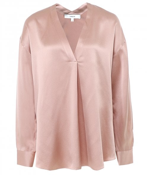 Vince V-Neck Silk Popover Blouse