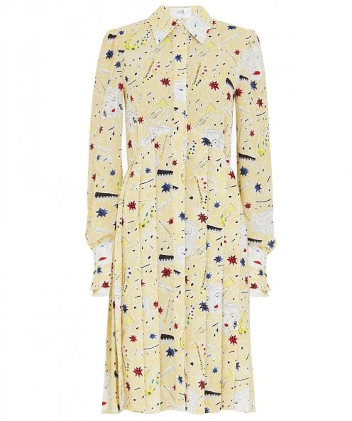 Victoria Beckham Pleated Button Front Jazz Print Dress