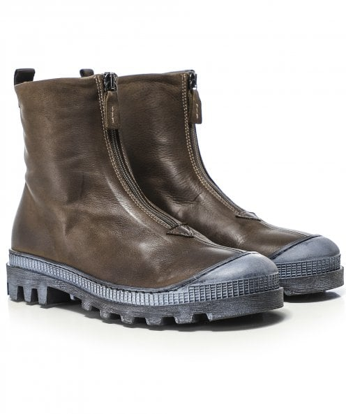Lofina Zip Front Leather Boots