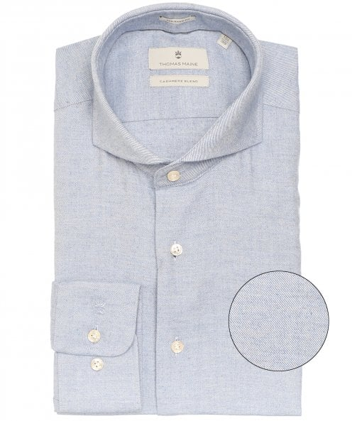 Thomas Maine Tailored Fit Cotton Cashmere Shirt