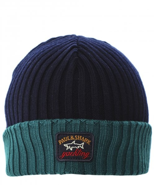 Paul and Shark Virgin Wool Contrast Ribbed Beanie