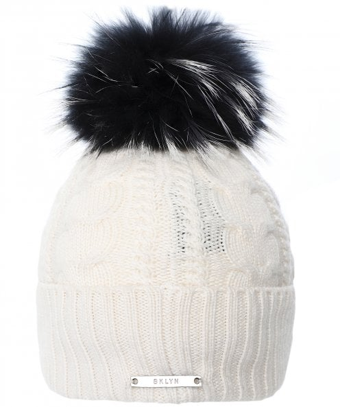 BKLYN Merino Wool Cable Beanie Bobble Hat