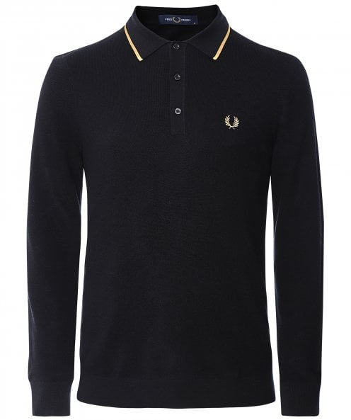 Fred Perry Knitted Tipped Long Sleeve Polo Shirt K9550