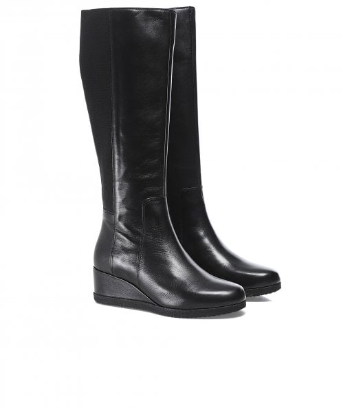 Geox Anylla Leather Wedge Boots