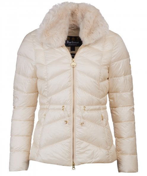 Barbour International Halfback Faux Fur Trim Quilted Jacket
