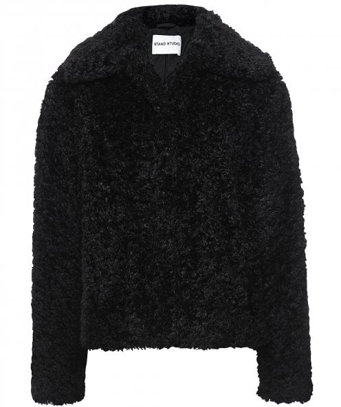 Stand Studio Marcella Curly Faux Fur Jacket
