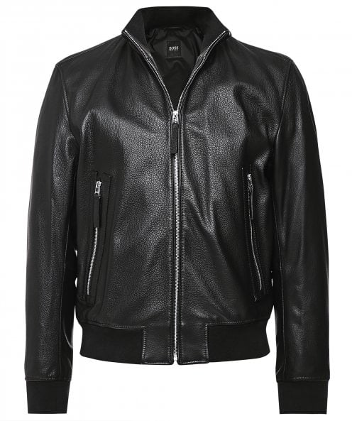 BOSS Relaxed Fit Leather Neovel Jacket
