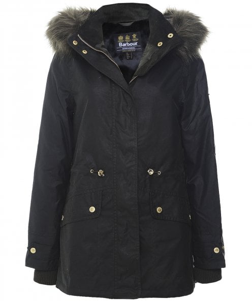 Barbour International Croft Waxed Cotton Faux Fur Trim Jacket