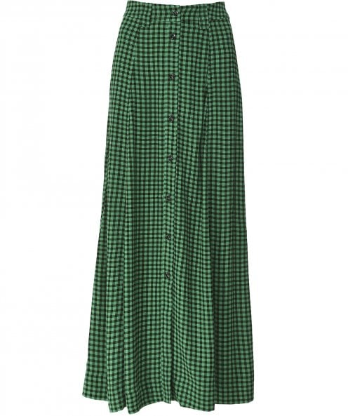 Ganni Gingham Crepe Skirt