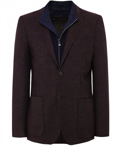 Corneliani Textured Wool Blend Bib Jacket