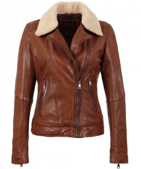 Oakwood Follower Leather Jacket with Borg Collar