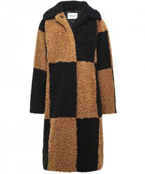 Stand Studio Nikki Checked Faux Shearling Coat