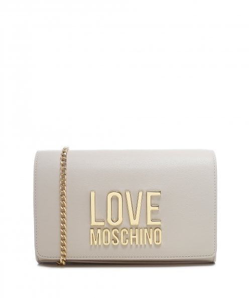 Love Moschino Bonded Gold Logo Clutch Bag