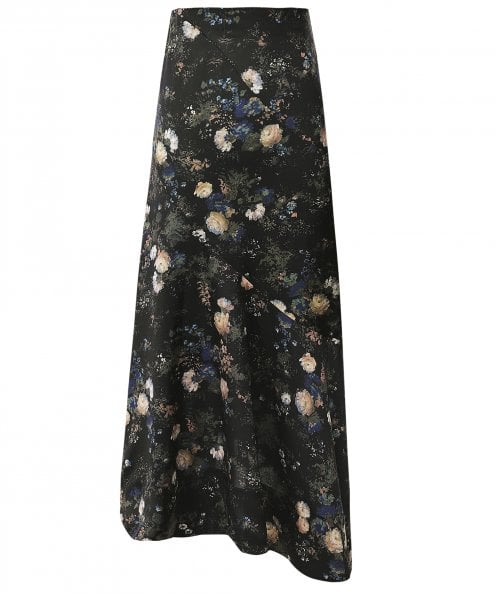 Vince Painted Rose Satin Skirt