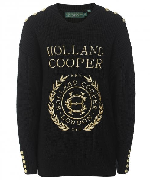Holland Cooper Crest Embroidered Knit Jumper