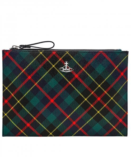 Vivienne Westwood Accessories Derby Tartan Coated Canvas Pouch