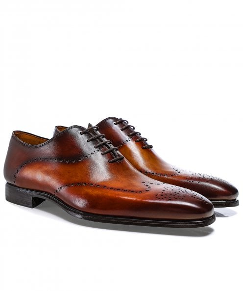 Magnanni Hand-Painted Leather Wing-Tip Oxford Shoes
