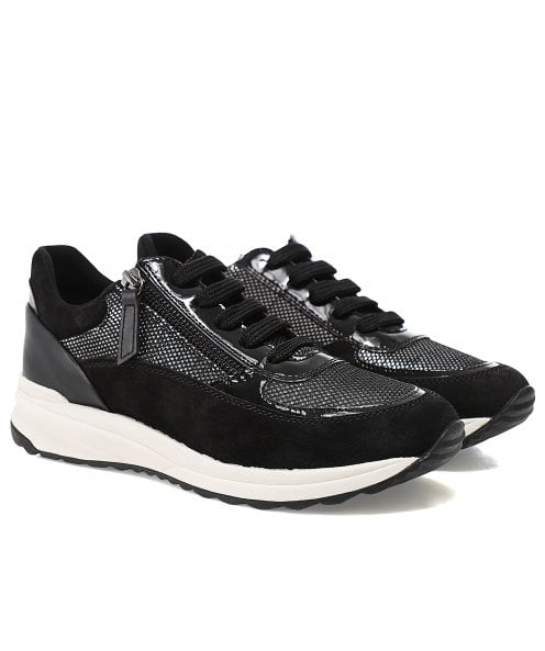 Geox Airell Leather Zip Trainers