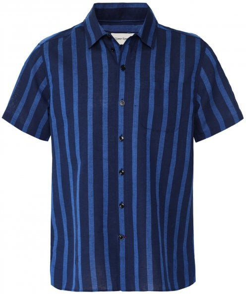 Oliver Spencer Short Sleeve Striped Hawaiian Shirt