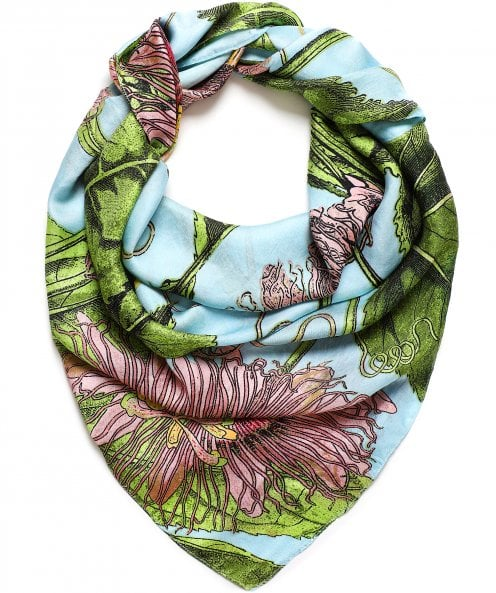 One Hundred Stars Kew Passion Flower Silk Scarf