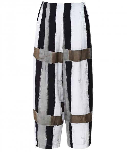 Crea Concept Abstract Print Linen Blend Trousers