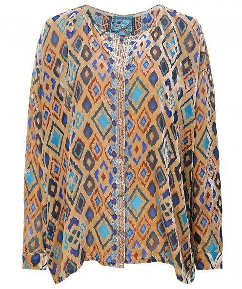 Johnny Was Ikat Button Down Blouse