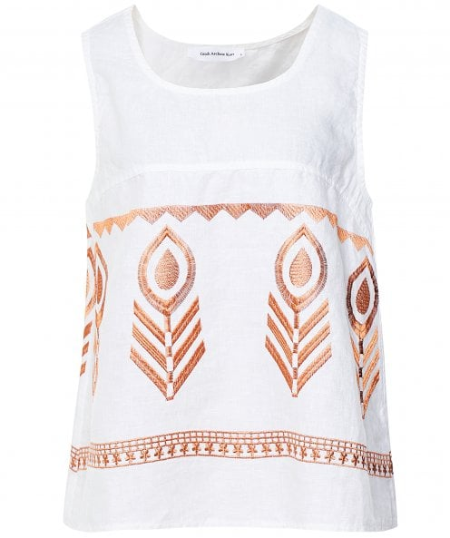 Kori Linen Embroidered Vest Top