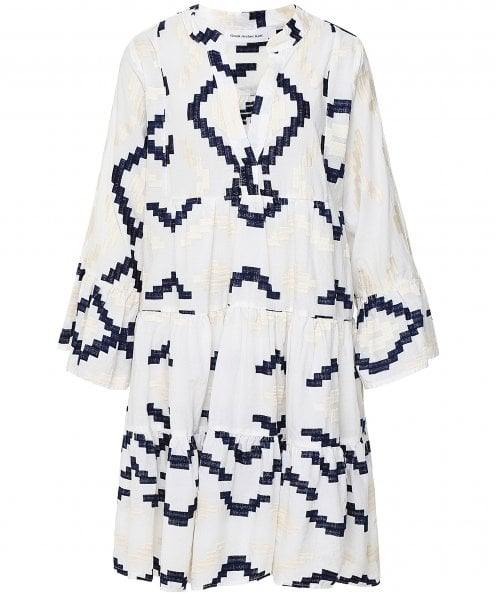 Kori Rhombus Embroidered Linen Swing Dress