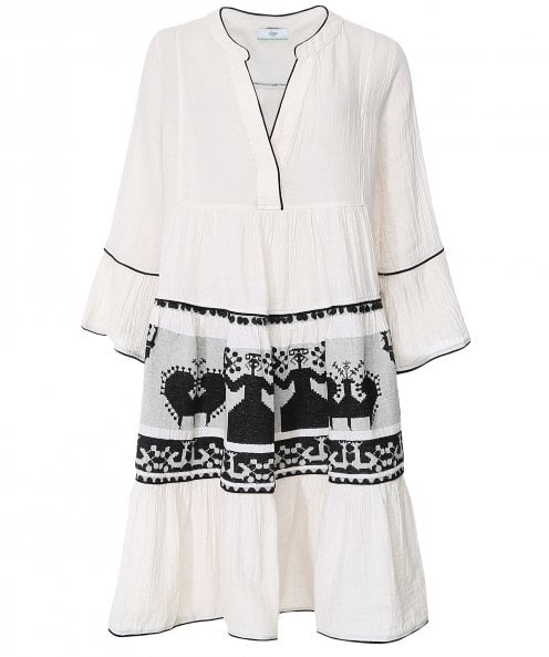 Devotion Twins Embroidered Bell Sleeve Mini Dress