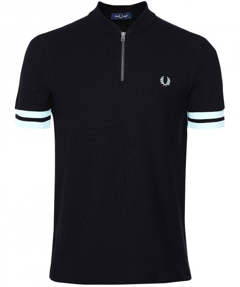 Fred Perry Tipped Cuff Zip Neck Polo Shirt M1623 102