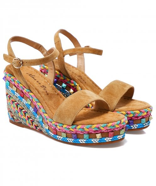 Alma en Pena Braided Wedge Suede Sandals
