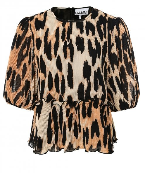 Ganni Pleated Leopard Print Georgette Blouse