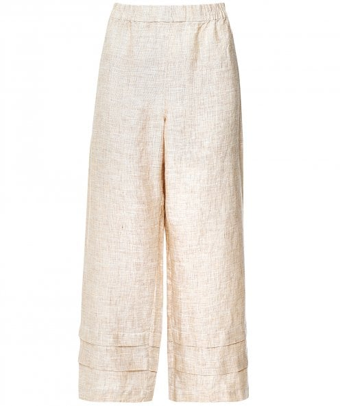 Grizas Wide Leg Pleated Linen Trousers