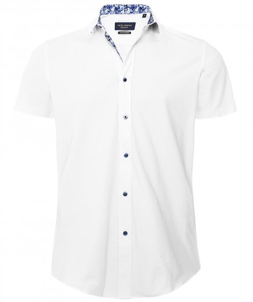 Guide London Floral Trim Short Sleeve Shirt