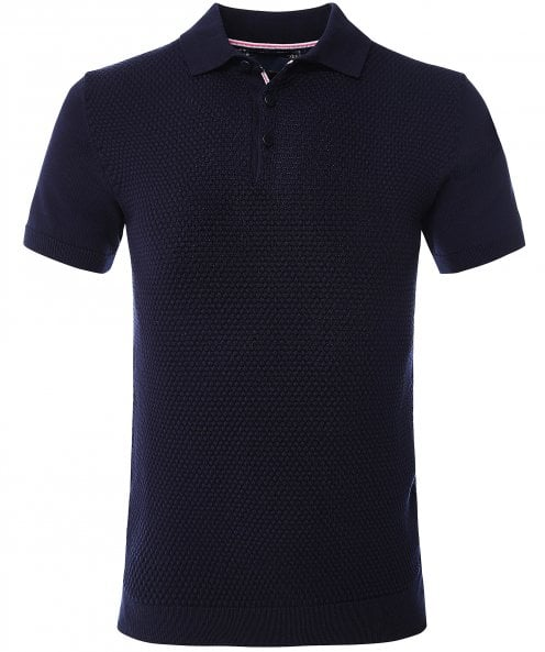 Guide London Textured Knit Polo Shirt