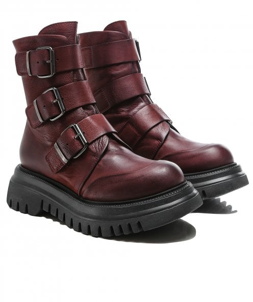 Lofina Buckled Leather Boots