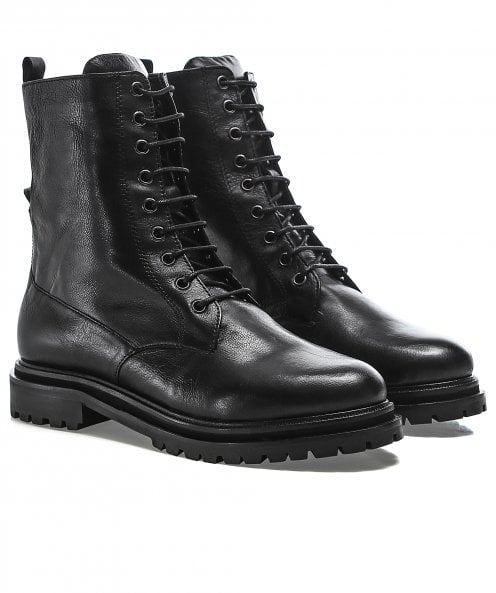 Hudson London Resnick Leather Military Boots
