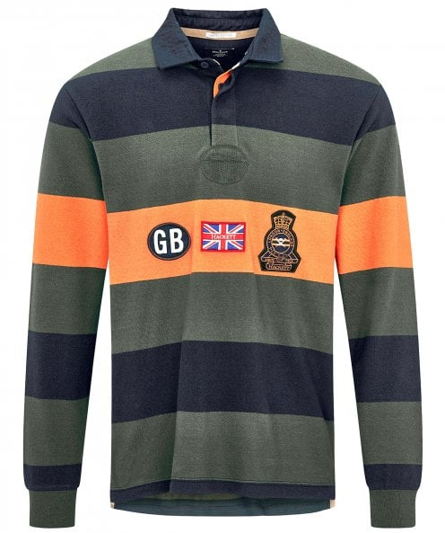 Hackett Badge Striped Rugby Shirt