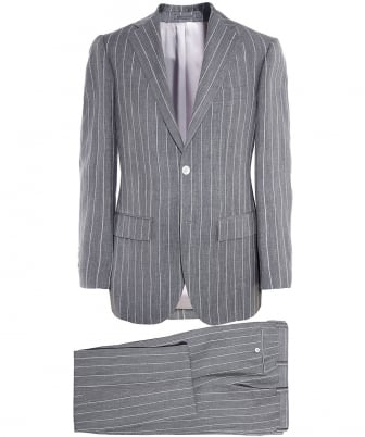 Slim Fit Linen Pinstripe Suit