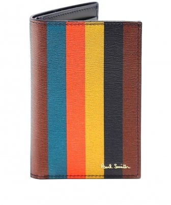 Bright Stripe Leather Card Holder