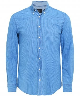 Slim Fit Indigo Dyed Striped Shirt