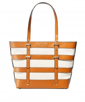 Marie Caged Leather and Canvas Tote Bag