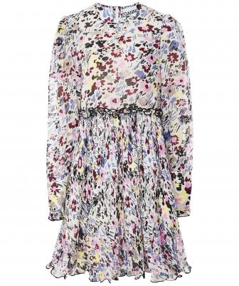 Pleated Floral Georgette Dress