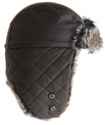 32c3a8cb7a7 Barbour Olive Waxed Grasmere Trapper Hat