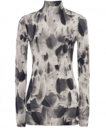 Feather Print Long Sleeve Top