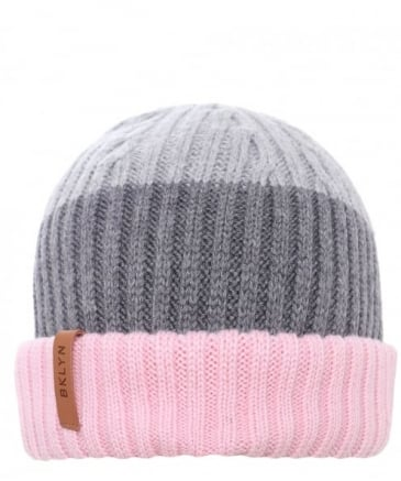 Merino Wool Three-Tone Beanie Hat