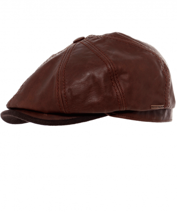Stetson Brown Leather Hatteras Cap  4f6ccc3fa5c3