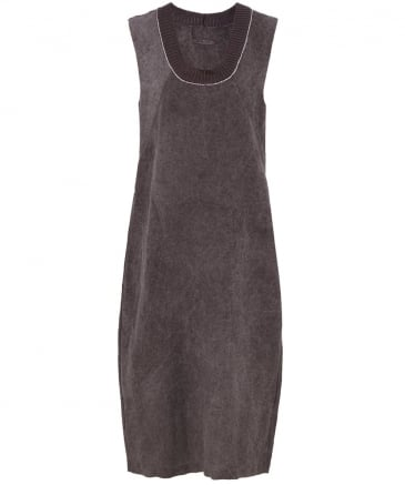 Ribbed Neckline Linen Dress